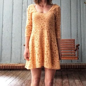 FREE PEOPLE lacy yellow dress